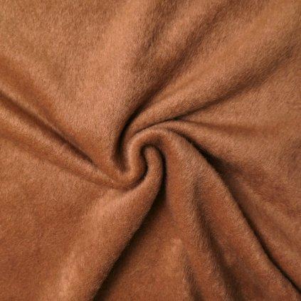 Kabátovina medově hnědá s plyšovým povrchem
