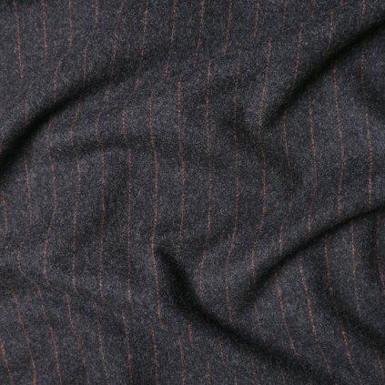 Kabátovina tmavě šedá s cihlovým proužkem