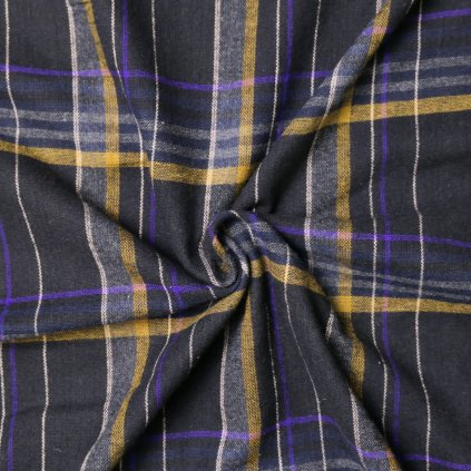 Flanel tmavě šedý s fialovo-okrovým kostkovaným vzorem