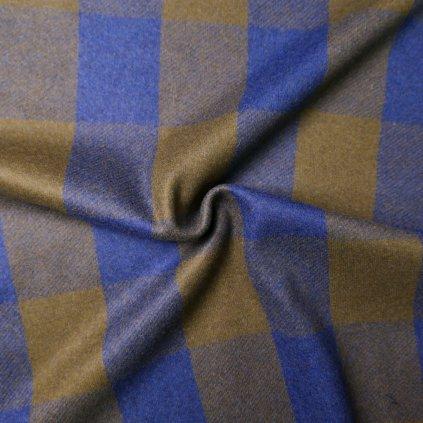 Kabátovina modro-khaki kostkovaná