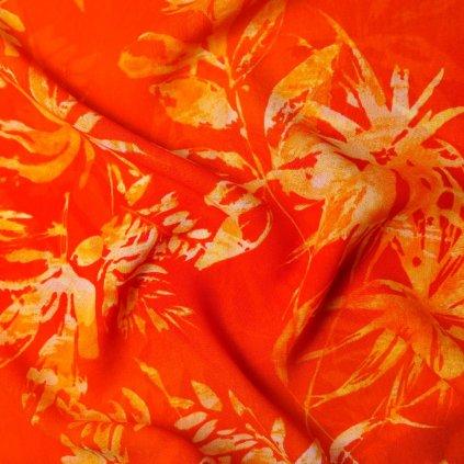 Viskózový žoržet oranžový se vzorem listů