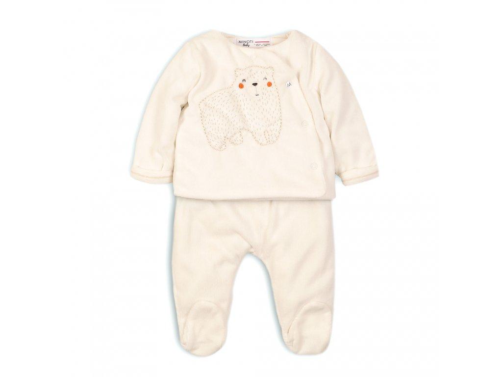 Kojenecký set sametový, kabátek a kalhoty Baby bílá