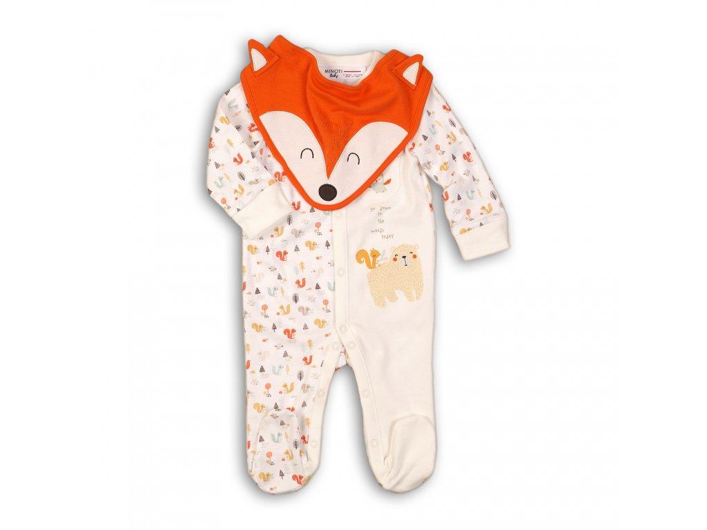 Overal kojenecký bavlněný s bryndákem Baby bílá