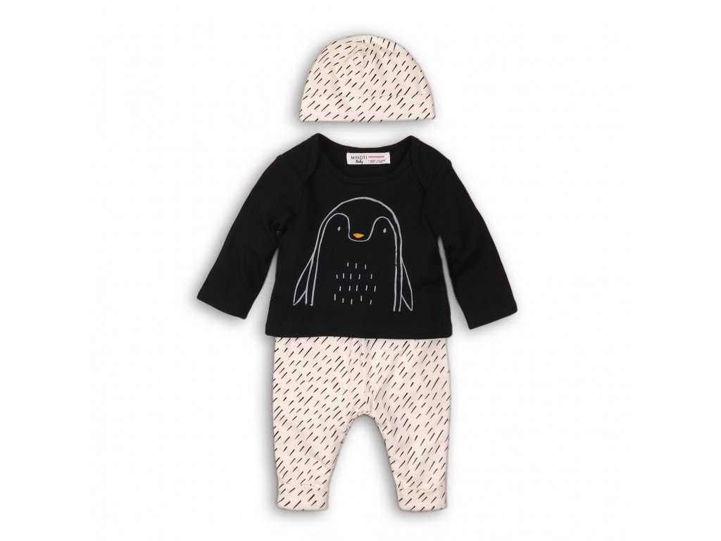 Kojenecký set bavlněný, tričko, tepláky a čepice Baby černá