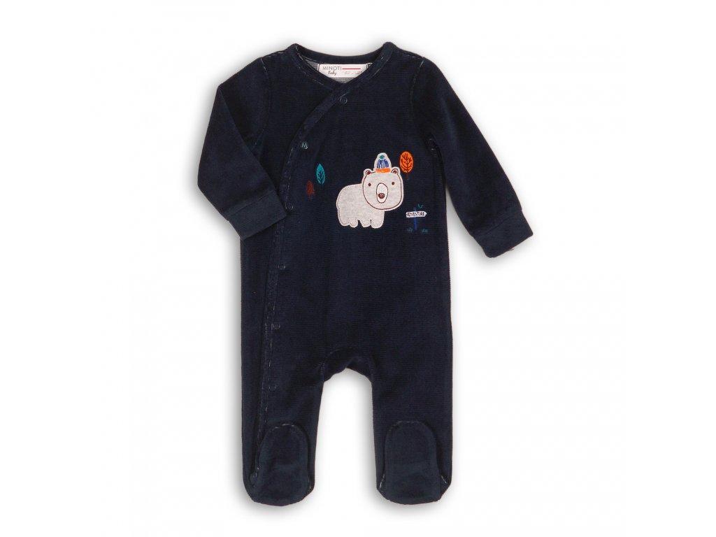Overal kojenecký sametový Baby tmavě modrá