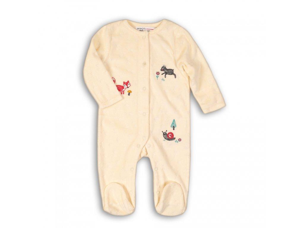 Overal kojenecký sametový s čepičkou Baby béžová