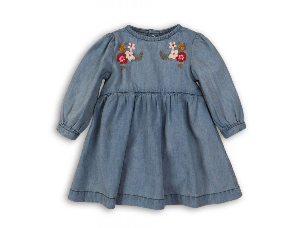 Šaty džínové s výšivkou Baby modrá