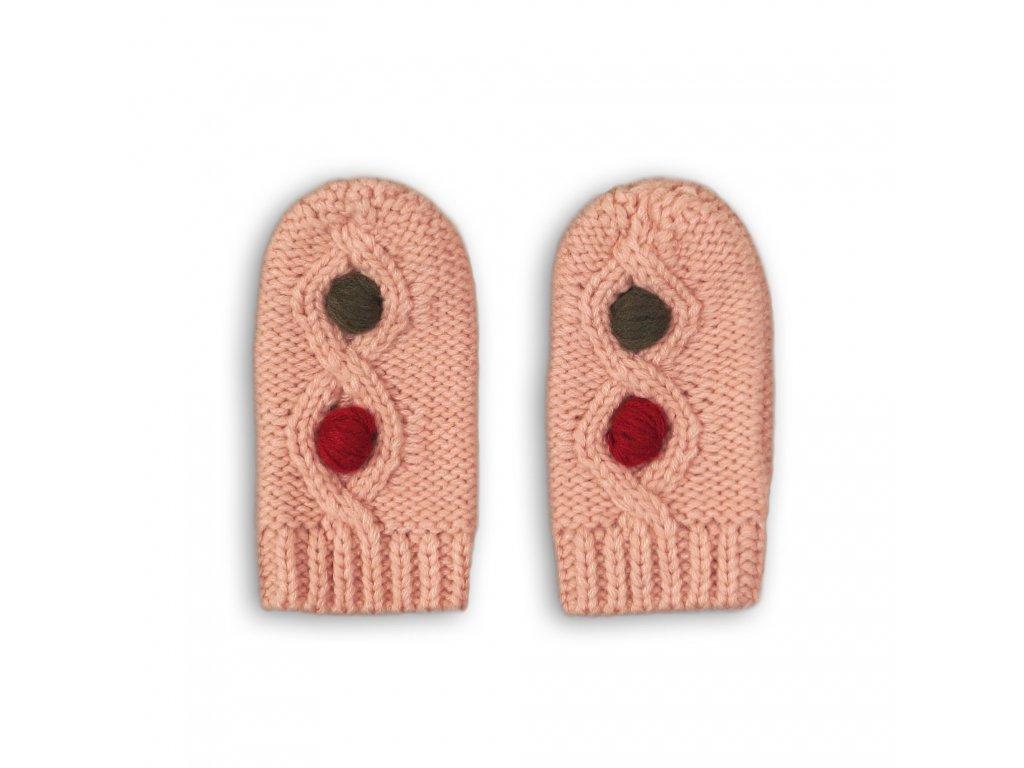 Rukavice pletené Baby růžová