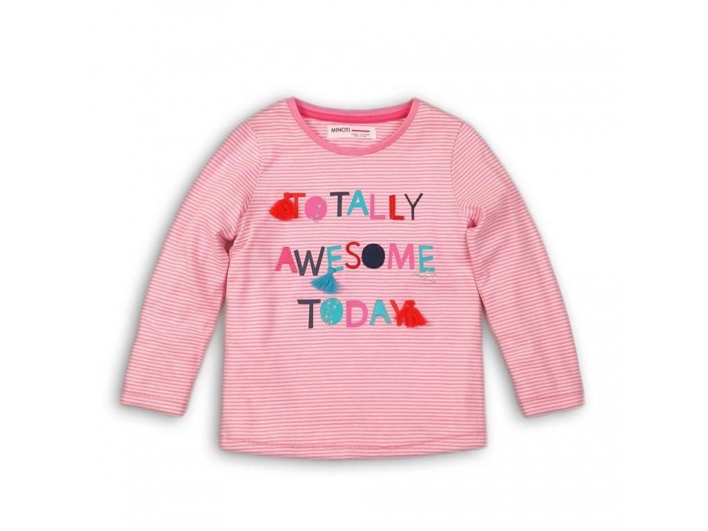 Tričko dívčí bavlněné s dlouhým rukávem Baby růžová