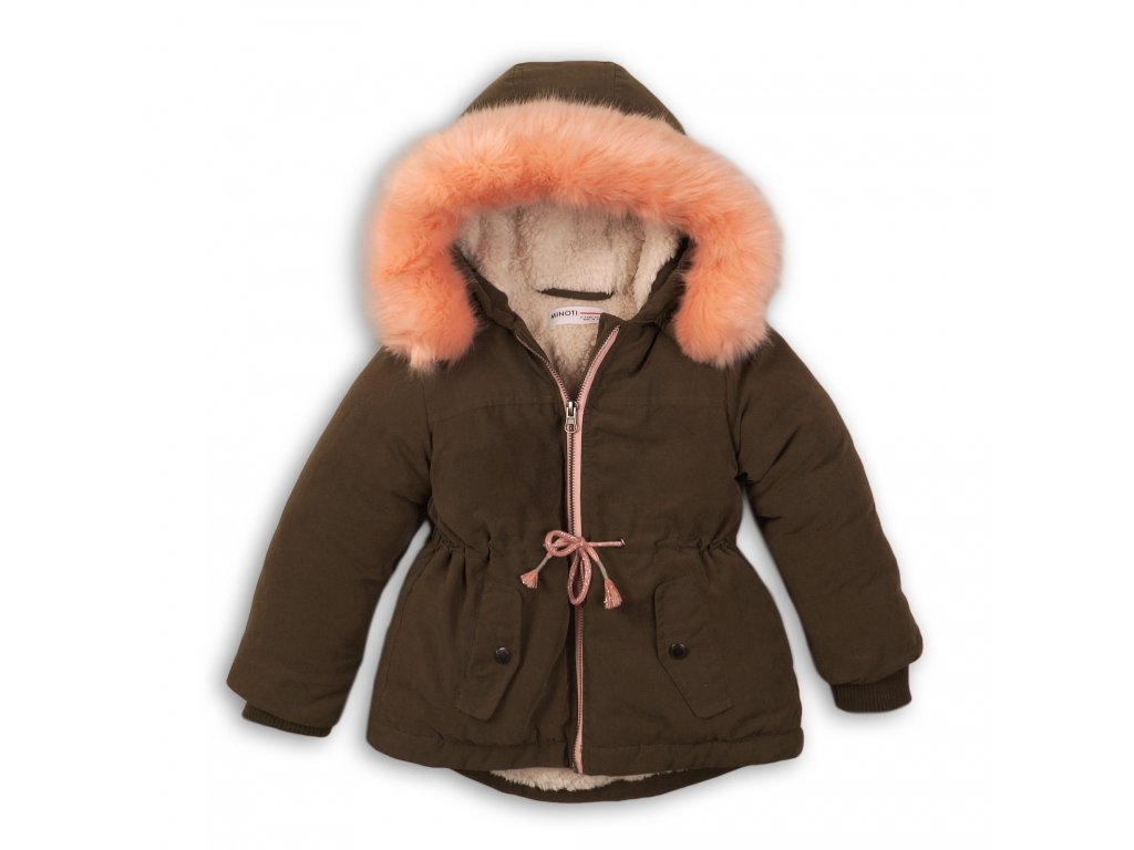 Kabát dívčí zimní Parka podšitá chlupem Baby khaki