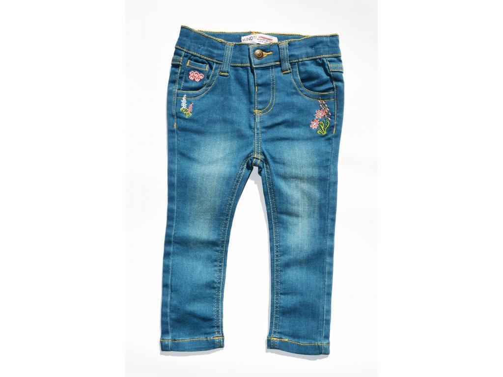Kalhoty dívčí džínové, vyšívané Kids holka