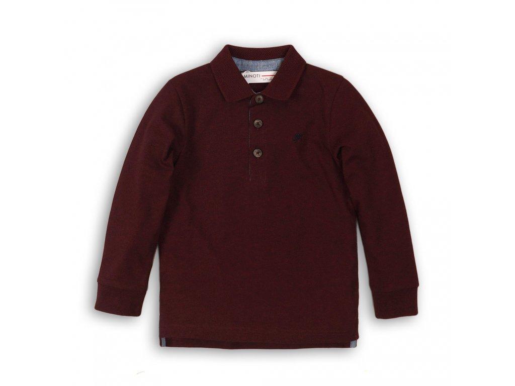 Tričko chlapecké POLO bavlněné s dlouhým rukávem Kids vínová