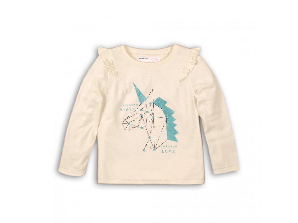 Tričko dívčí bavlněné s dlouhým rukávem Baby krémová