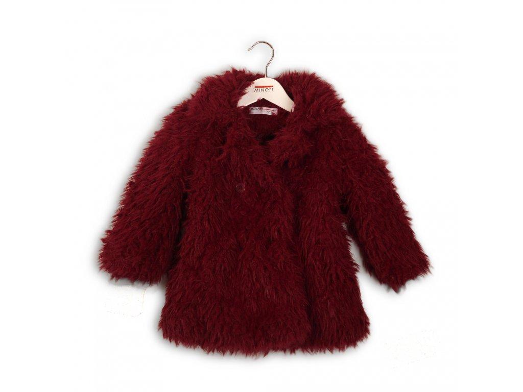 Kabát dívčí chlupatý Baby vínová
