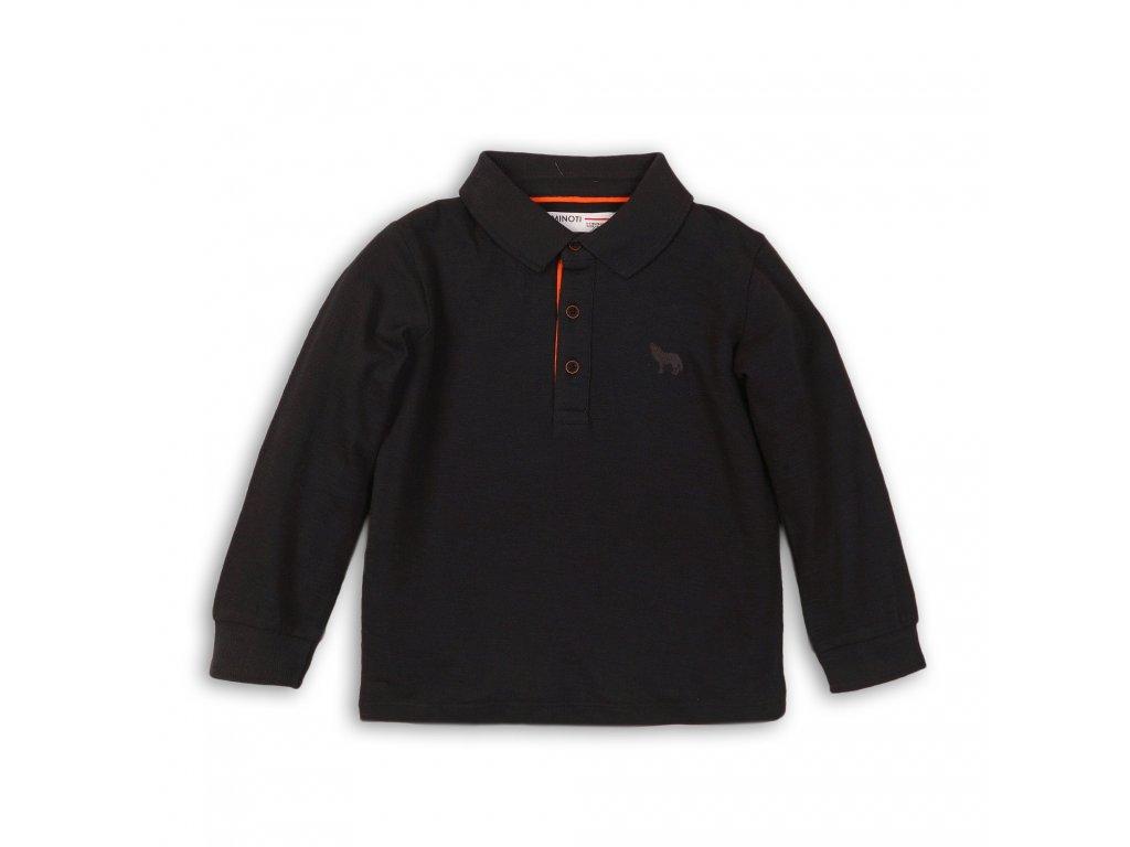 Tričko chlapecké POLO bavlněné s dlouhým rukávem Junior antracit