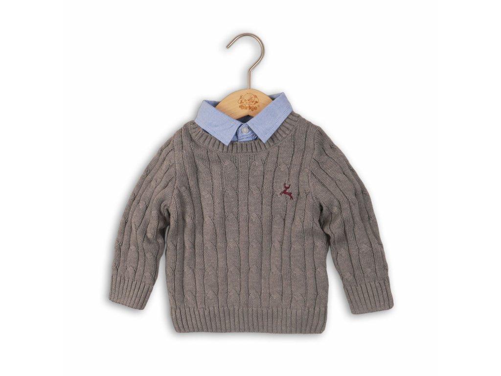 Svetr chlapecký se všitou košilí Baby šedá