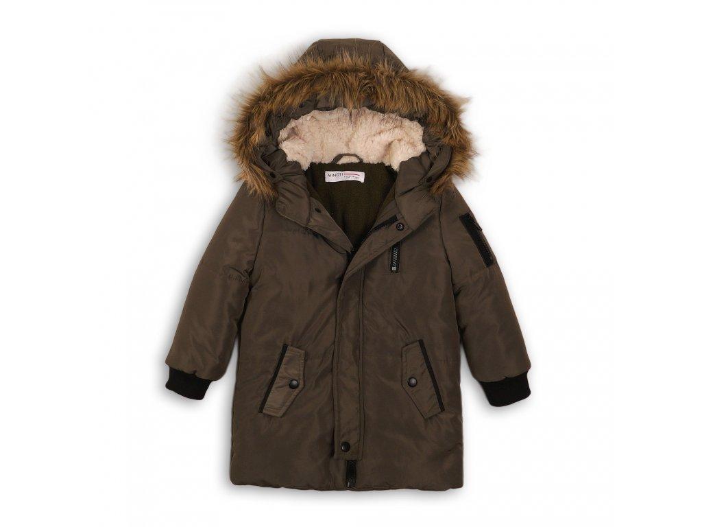 Kabát dívčí zimní Puffa podšitá chlupem Junior khaki