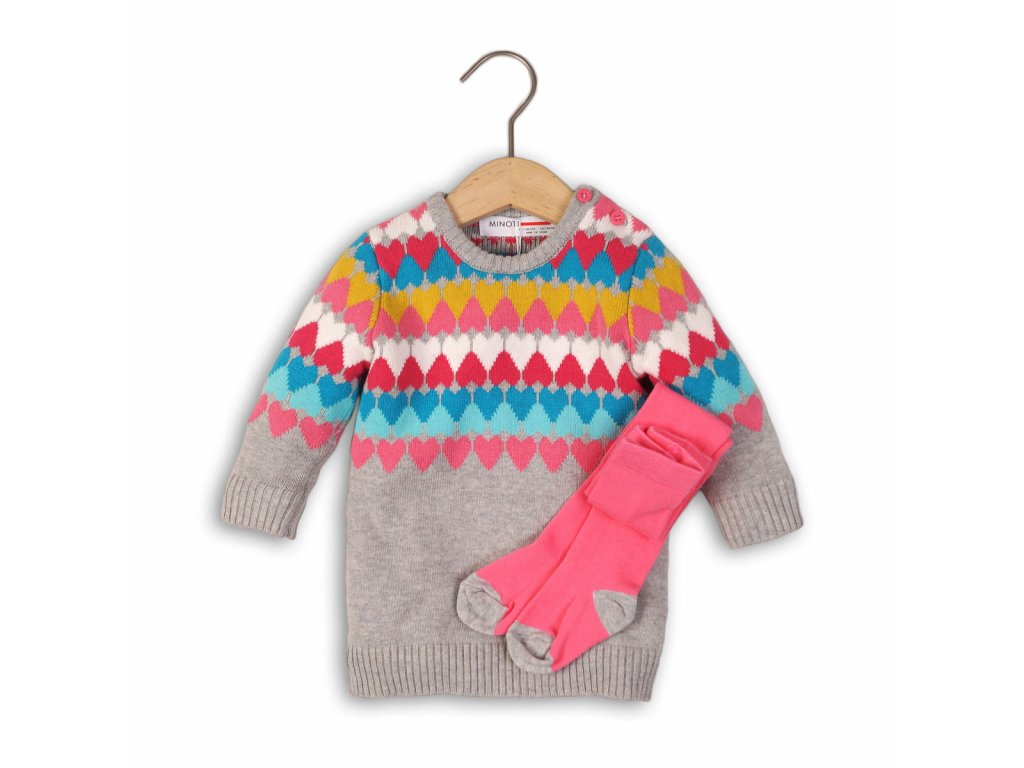 Šaty dívčí úpletové s punčochami Baby šedá