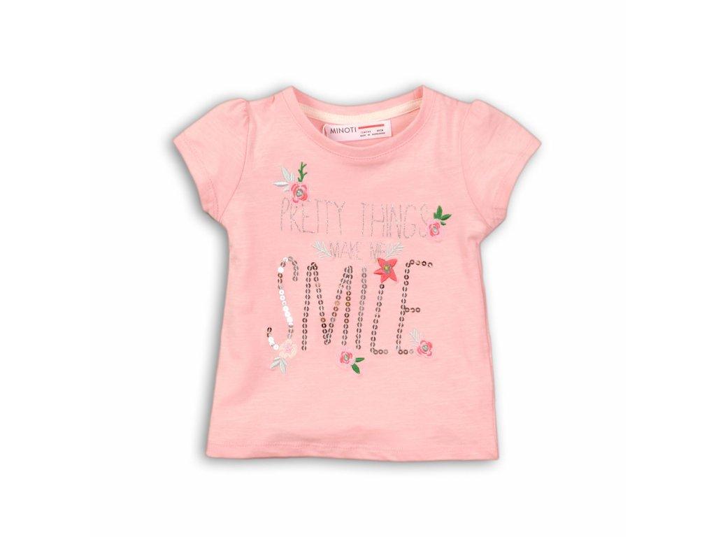 Tričko dívčí s krátkým rukávem Baby růžová