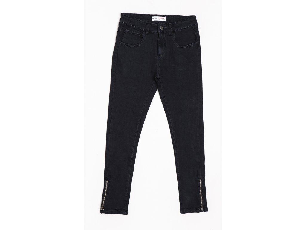 Kalhoty divčí s elastenem Junior tmavě modrá