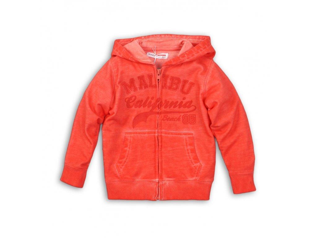 Mikina chlapecká celopropínací s kapucí Junior červená