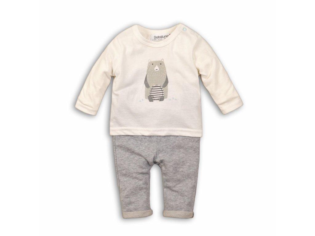 Kojenecký set bavlněný, tričko a kalhoty Baby šedá