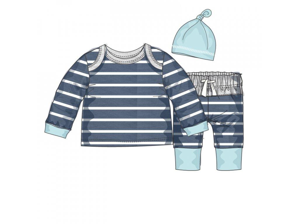 Kojenecký set bavlněný, tričko, kalhoty a čepička Baby modrá