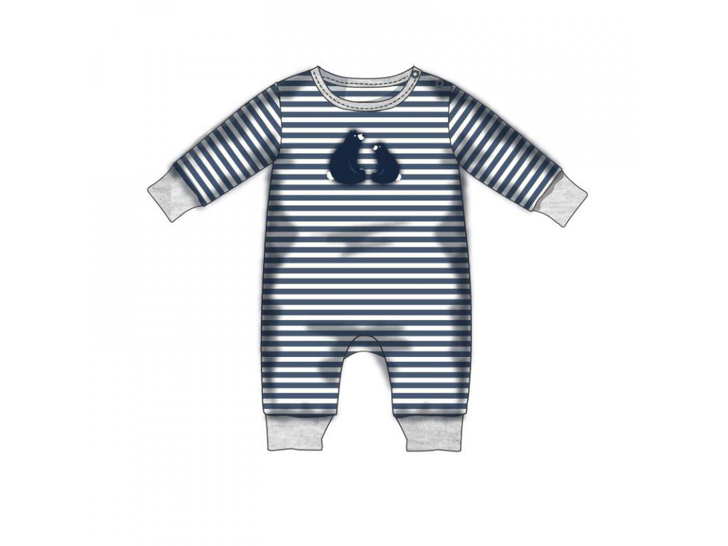 Overal kojenecký bavlněný Baby modrá