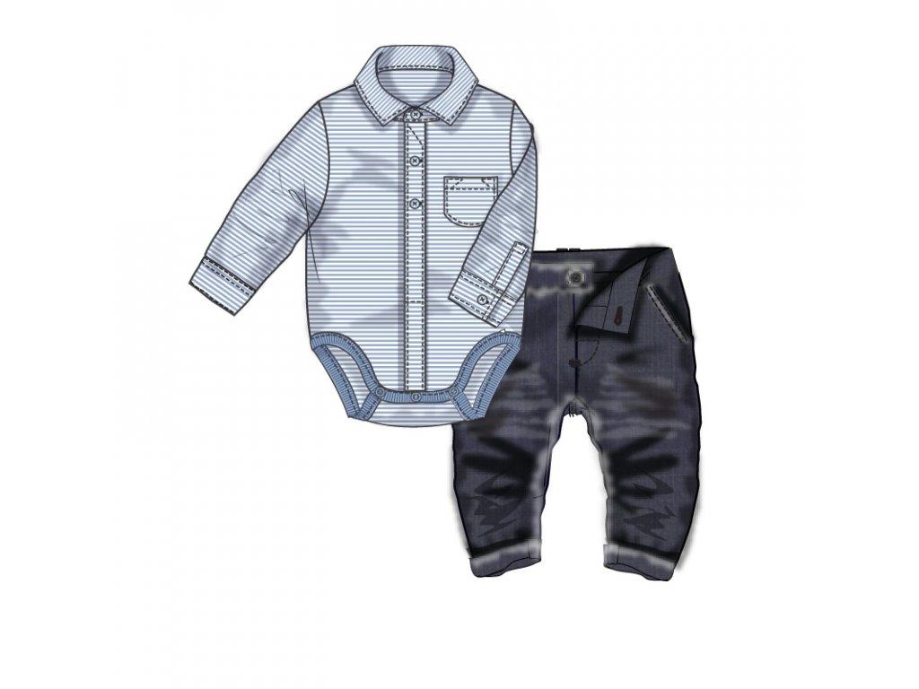 Kojenecký set bavlněný, body košile a kalhoty Baby modrá