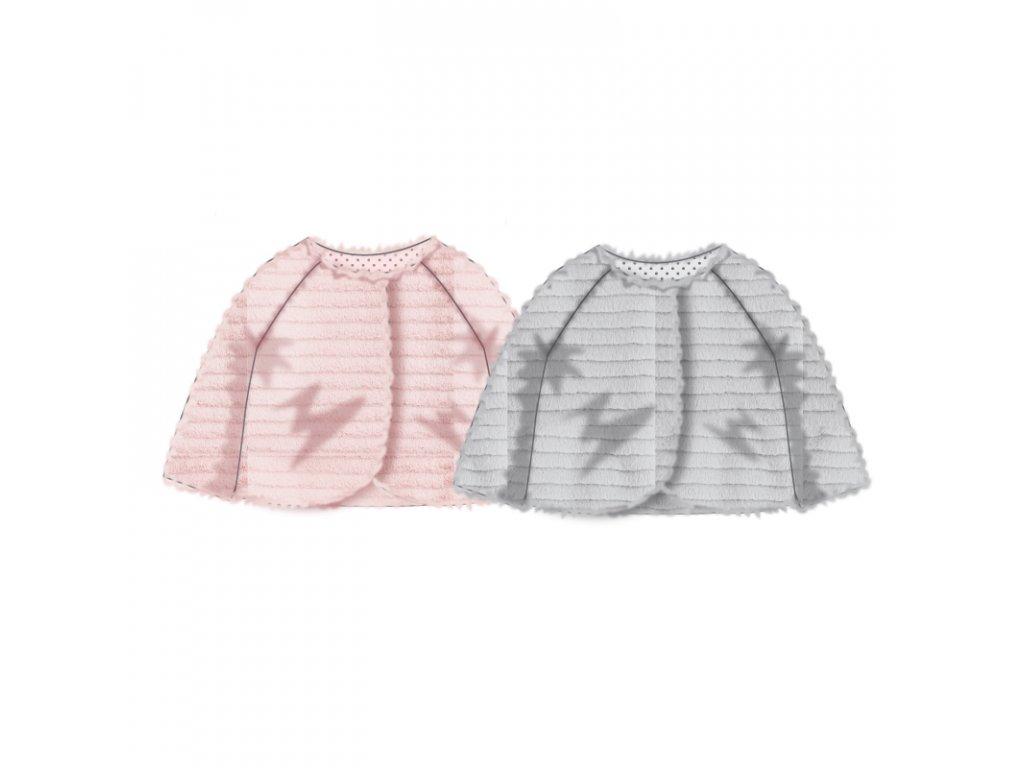 Kabátek kojenecký chlupatý s bavlněnou podšívkou Baby růžová