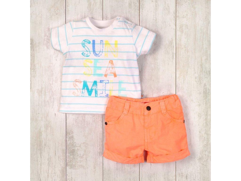 Chlapecký set, tričko a kraťasy Baby oranžová