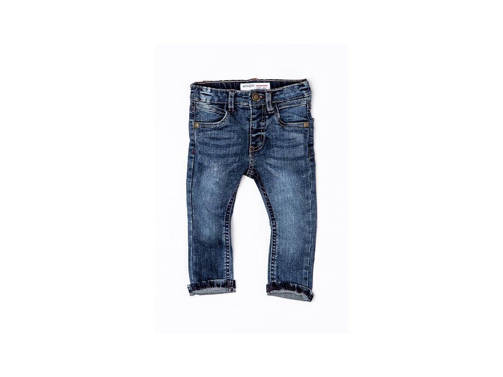Kalhoty chlapecké džínové s elastenem a barevným prošíváním Baby světle modrá