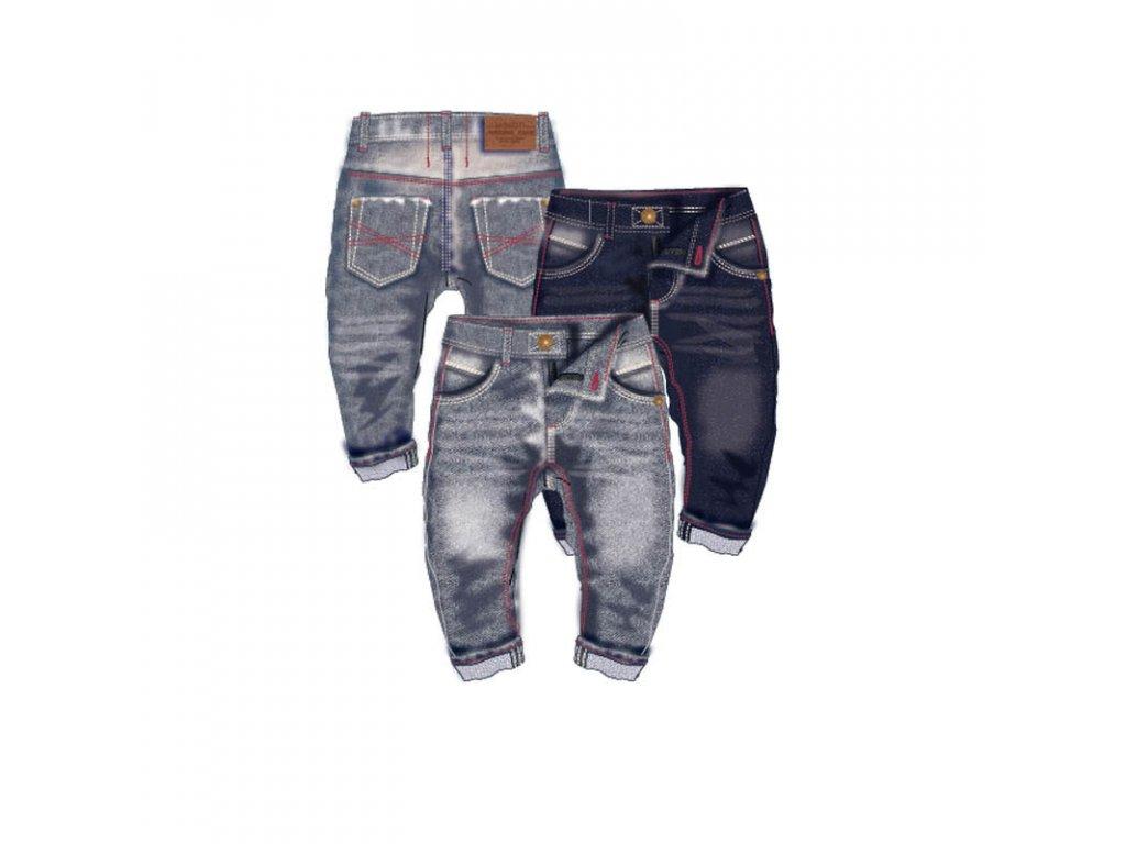 Kalhoty chlapecké džínové s elastenem a barevným prošíváním Baby tmavě modrá