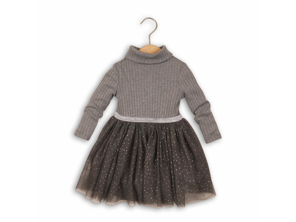 Šaty dívčí, rolák a řesená sukně Baby šedá