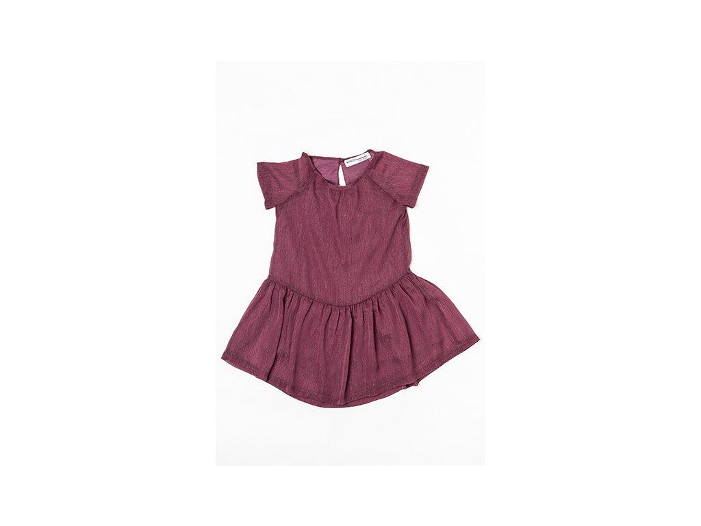 Šatý dívčí s krátkým rukávem, řasená sukně Junior červená