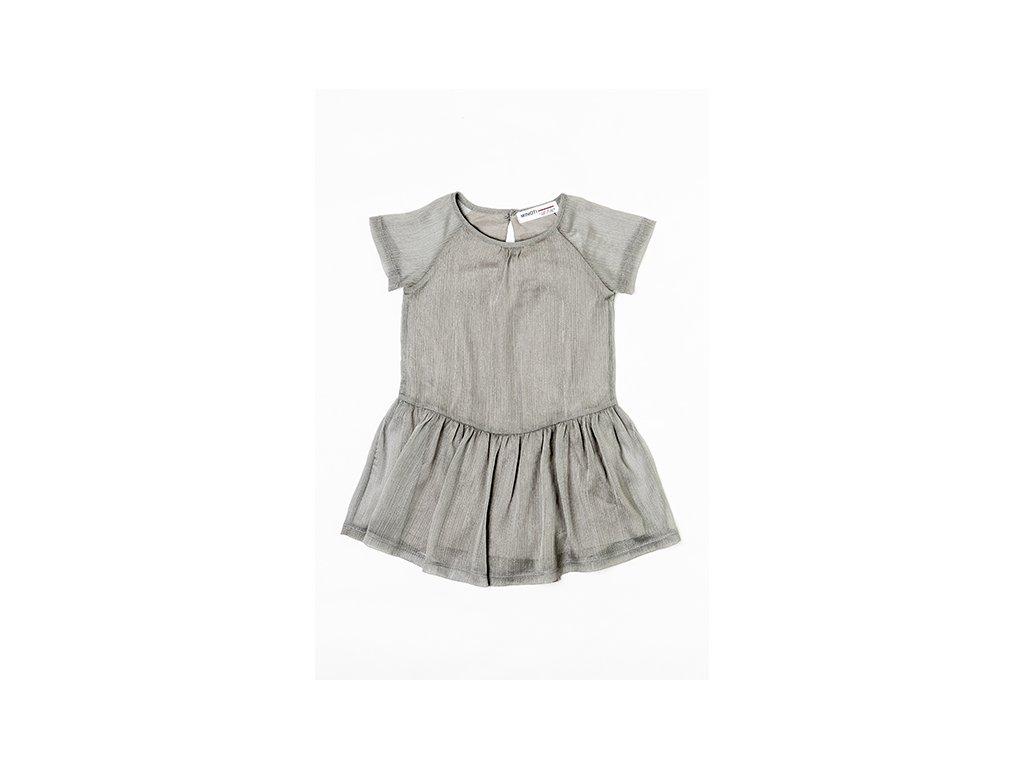Šatý dívčí s krátkým rukávem, řasená sukně Junior šedá