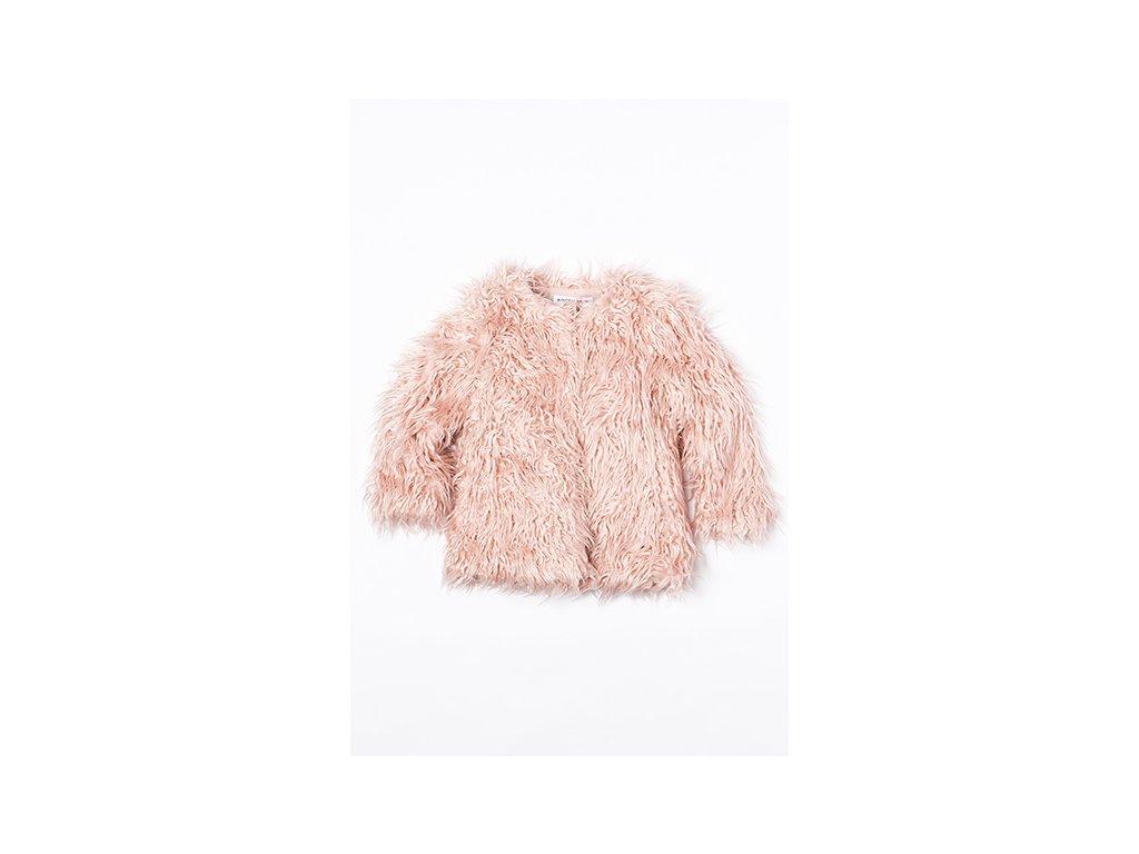 Kabát dívčí chlupatý Junior růžová