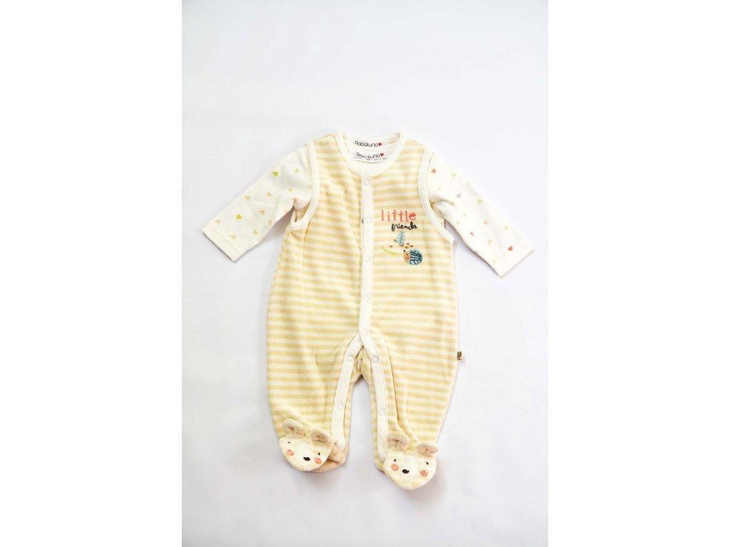 Kojenecký set sametový Baby krémová