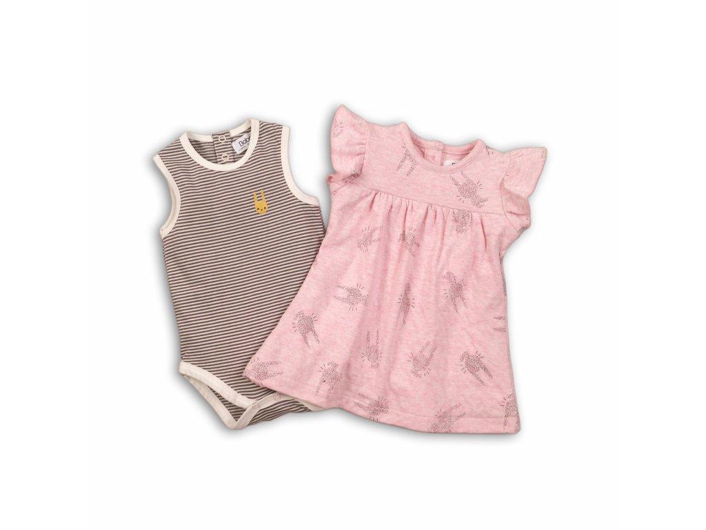 Dívčí set, body a šaty Baby růžová