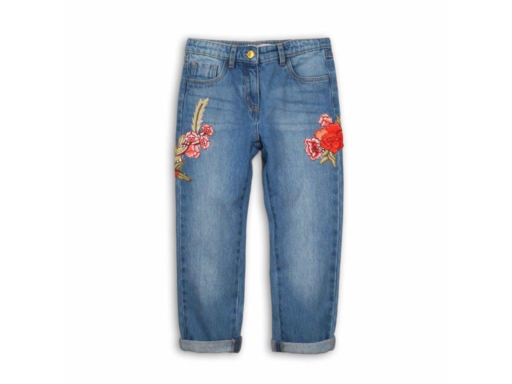 Kalhoty dívčí džínové s výšivkami Kids modrá