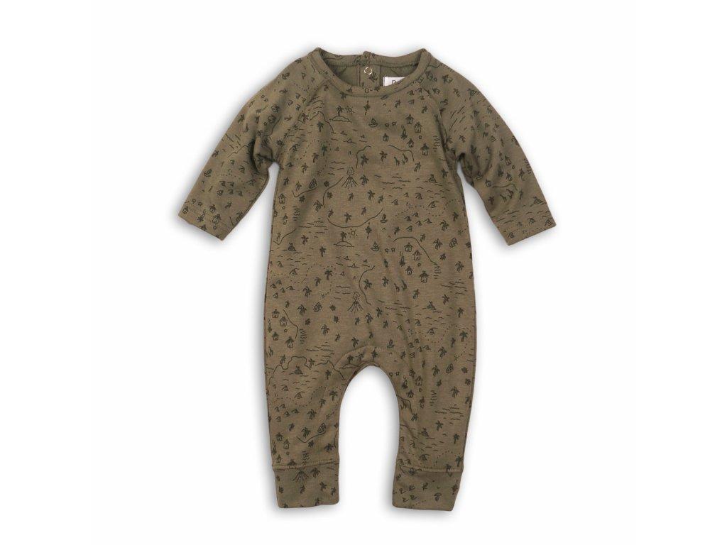 Overal kojenecký bavlněný Baby khaki