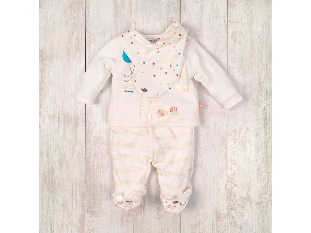 kojenecký set tričko, kalhoty, bryndáček Baby bílá