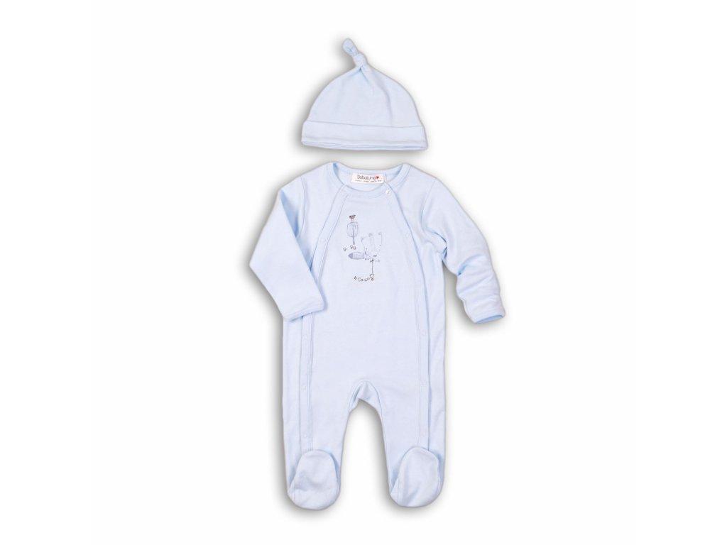 Overal kojenecký bavlněný s čepičkou Baby světle modrá