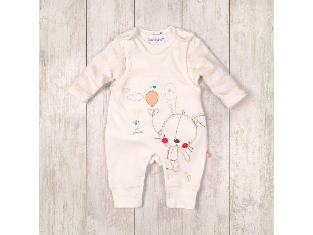 kojenecký set kalhoty s laclem, body Baby bílá