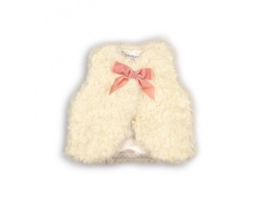 Vesta dívčí chlupatá s mašlí Baby bílá