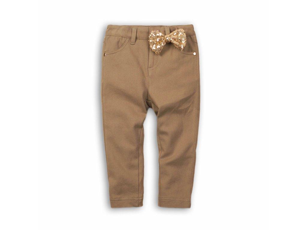 Kalhoty dívčí s elastenem s mašlí Baby hnědá