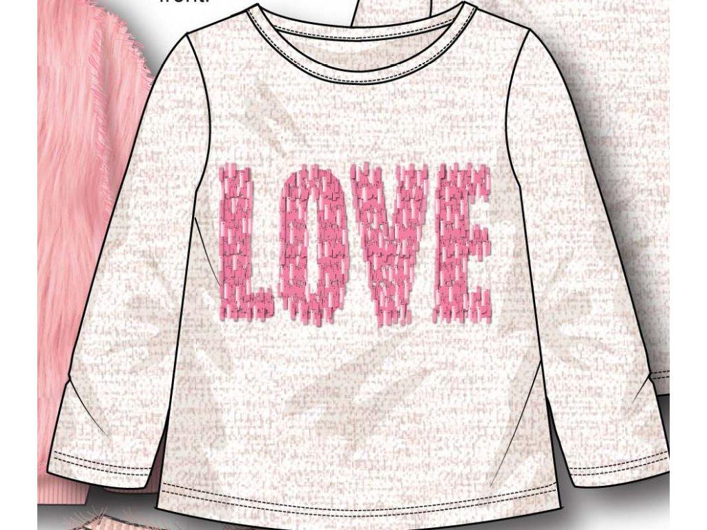 Tričko dívčí s dlouhým rukávem s aplikací Kids holka