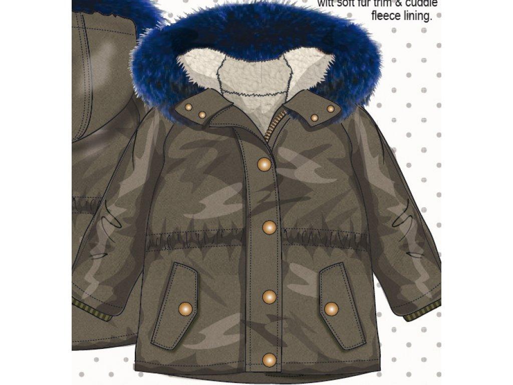 Kabát dívčí Parka podšitý chlupem Kids holka