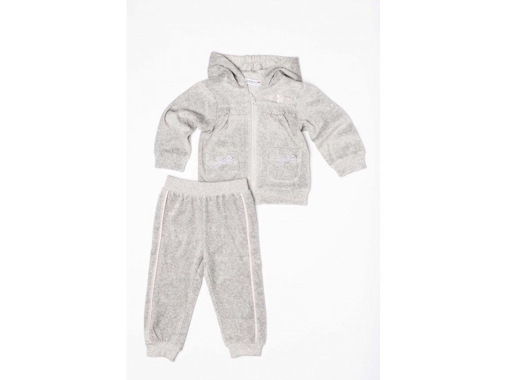 Tepláková souprava dívčí sametová Baby šedá