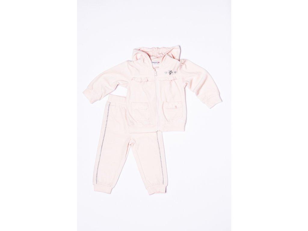Tepláková souprava dívčí sametová Baby růžová
